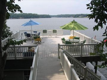 Lake Gaston Boat House View- Trex Decking High End Furniture