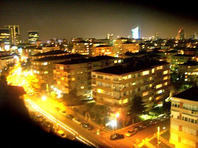 Istanbul condo rental - Night view from the living room with shopping centers in the distance