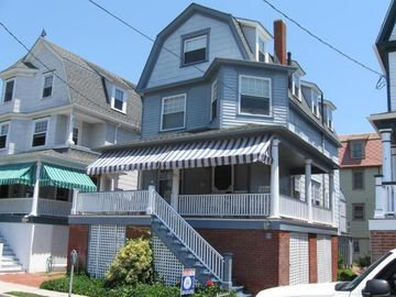 Cape May house rental - 4 houses from beach. Large front porch w/ocean views. 7 rocking chairs