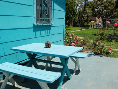 Enjoy meals outdoors any time of the year! We now have new table for 6 & gas BBQ