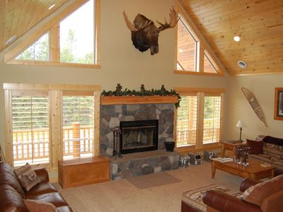 Huge Living Area with moose head.