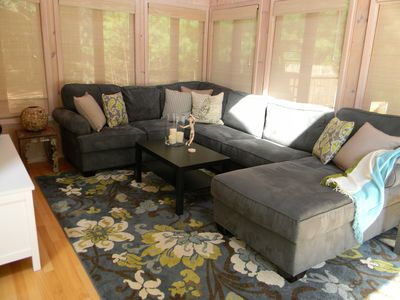 East Hampton house rental - Family room with flat screen TV. Sleeper sofa with full-size, upgraded mattress