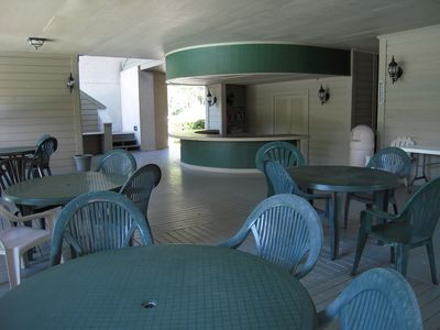 The pavilion at the pool with showers & restrooms