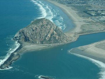 Aerial view of Morro Bay. Enjoy windsurfing, kayaking or hiking this area.