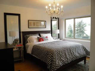 Seattle condo photo - Master bedroom with crystal chandelier