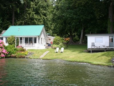 Cabin(white w/green roof) & Bunk House(white building on right) from the dock