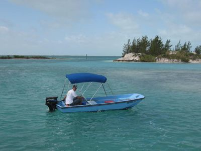 14' Boston whaler included with rental of By the Seashore.  Great way to explore