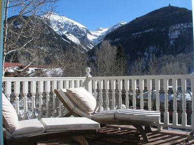 Master deck (1 of 3 porches w/ views from Ajax to ski area to Down Valley)