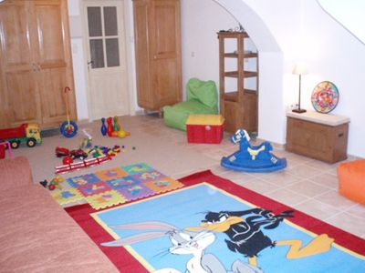 Play room with lots of toys in the lower level of the villa