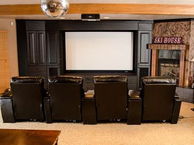 "Snowbird lodge rental - 100"" Big Screen Theater Room with 4 deluxe loungers..and 300 movie library"