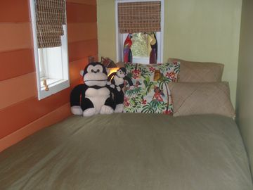 The cozy Twin bed in the Loft at the top of the stairs.