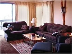 Tannersville condo rental - View of the living room and out to the back deck.