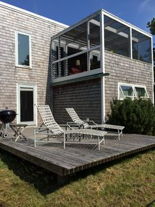 Grill or sunbathe on the West facing evening deck; drinks or lunch upstairs
