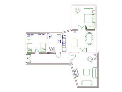 Floor plan of the apartment - fully 110m2/1200sf