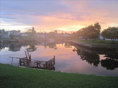 Sunrise on the canal, but with the old dock.