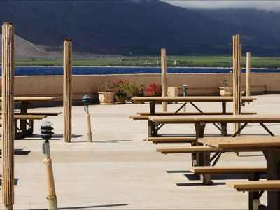 Rooftop picnic tables for a meal on top of the world!