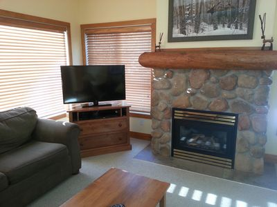 Watch the sun rise from our living room with its cozy gas fireplace.