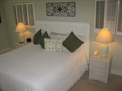The large master bedroom with a king bed and its own bath!