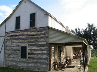 Side view of the Log Cabin.  2 bedrooms, great for 4 people.