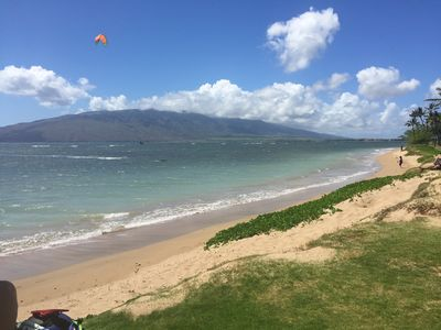 Maui Sunset Oceanfront Resort- beach at your door . Kite Surfer