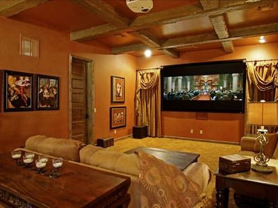 Media room with 110' Hi definition projector, DVD player, and video games