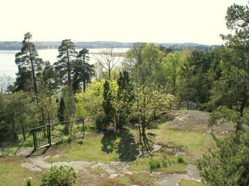 View from the upper floor, 2000 sqm garden in Woodland style 30 m above sea