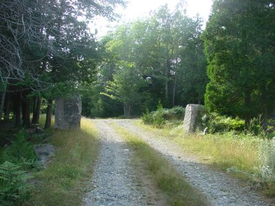 Somes Sound cottage rental - Granite Blocks mark entrance to cottage