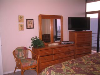 South Padre Island condo photo - Master Bedroom has storage and comfort with HD TV.