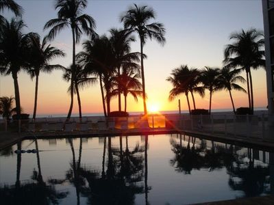Fort Myers Beach condo rental - breathtaking sunset viewed from our pool