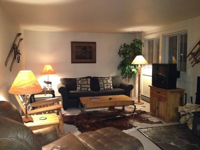 Teton Village condo rental - Living Room during the evening