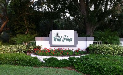 Entrance to Wild Pines off Country Club Drive.