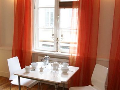 3rd Arrondissement Le Marais apartment rental - Dining table - View of the Dining room table which can fold in half. There are 2 chairs provided.