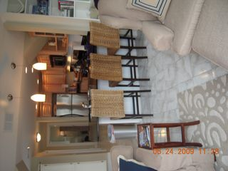 Plum Island condo photo - Looking at the kitchen & living area from the deck