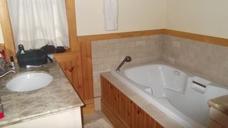 Lake Placid property rental photo - Master Bathroom, with jacuzzi-style tub and separate shower