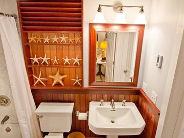 Bedroom Suite #4 Full Bath Has Tub/Shower With Nautical Style