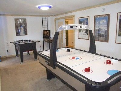 game room (fooseball, air hockey, and board games).