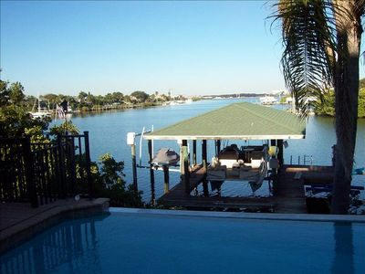 Apollo Beach house rental - View from the Living Area of Pool, Boat Dock and Canal