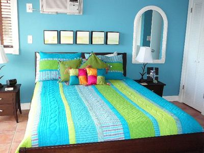 Oceanside Bedroom with a Bright Tropical Flair