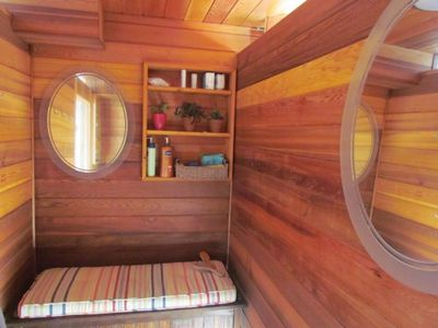 Spacious Cedar Outside Shower