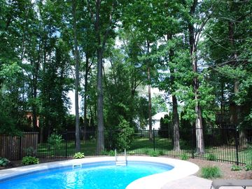 Heated private Pool in deep wooded lot