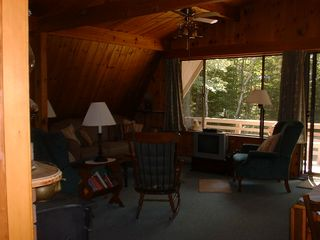 Somesville chalet photo - Upper Level Living area with Private Deck access