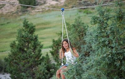 The 500 ft zip line is the kids favorite! Swings, hammocks and sandbox also!