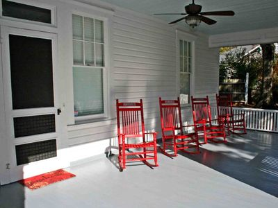 Peaceful Covered Front Porch w/Rocking Chairs.