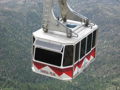 Sandia Peak tram car. Take a ride to the top of the mountain, 10,378 ft up.