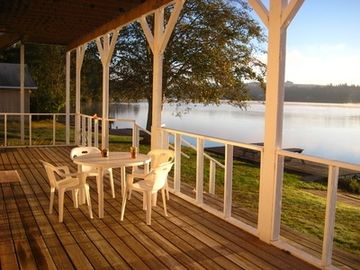 The Downstairs Deck Overlooks The Lake