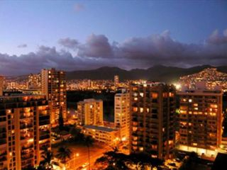 Waikiki condo photo - Dramatic View from the Lanai of Waikiki and Honolulu city lights at dusk