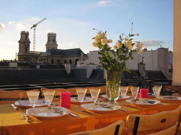 6th Arrondissement St Germain des Pres apartment rental - Terrace View to St Sulpice - 5th Floor (dining table fitting up to 10 guests)