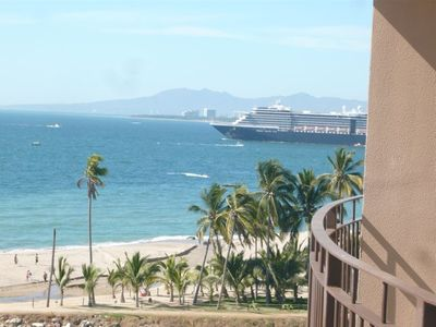 Cruise ship leaving - view towards Nuevo Vallarta