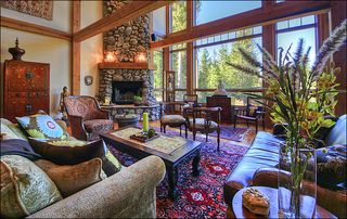 Big Sky house photo - Amazing Living Room - Wood Fireplace, 2-Story Windows, Vaulted Ceilings