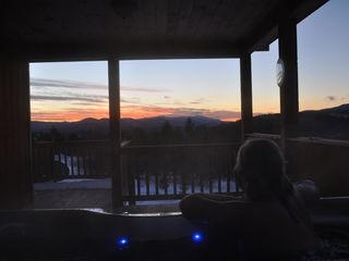 Bethel house photo - Hot tub with sunset